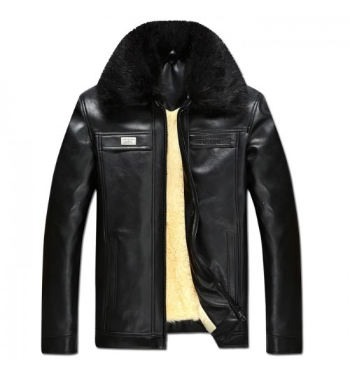Men's leather PU fur collar long-wool plus-size coat for middle age