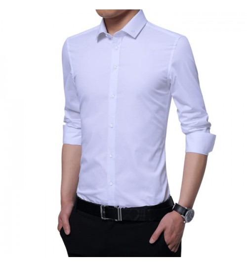 Men's long-sleeved shirt autumn youth solid color thin plus-size shirt