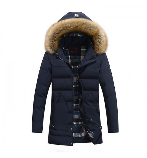 Men's long warm padded coat with a cap hot sale wool coat