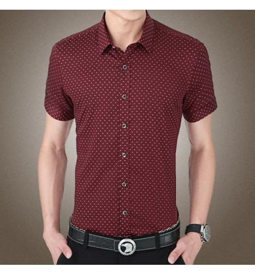Men's polka dot short-sleeved shirt 8503