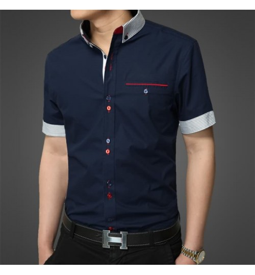 Men's shirt summer new short-sleeved solid color shirt