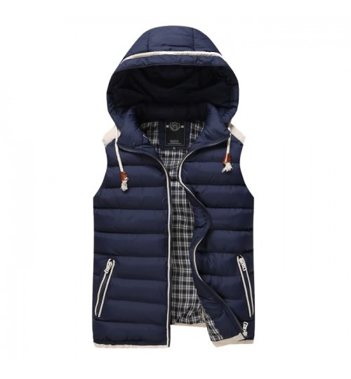 Men's thickened hooded cotton vest sweetheart coloured vest in Autumn Winter