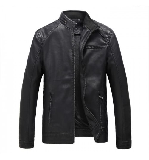 New Autumn Winter men's cashmere leather PU clothing