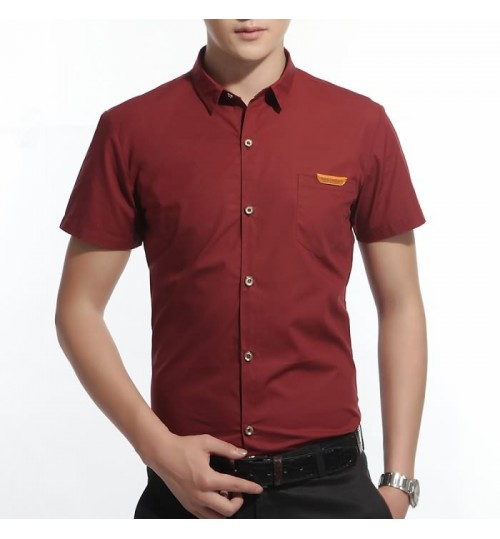 Summer new short-sleeved shirt Korean solid color cotton lapel men's shirt