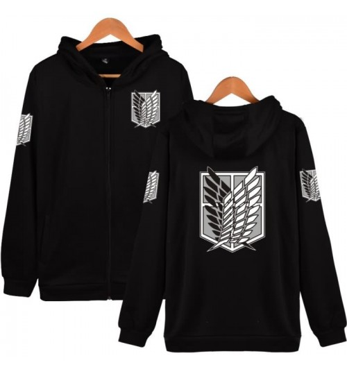 Attack on Titan sweater Survey Corps fleece zipper coat COSPLAY anime hoodie