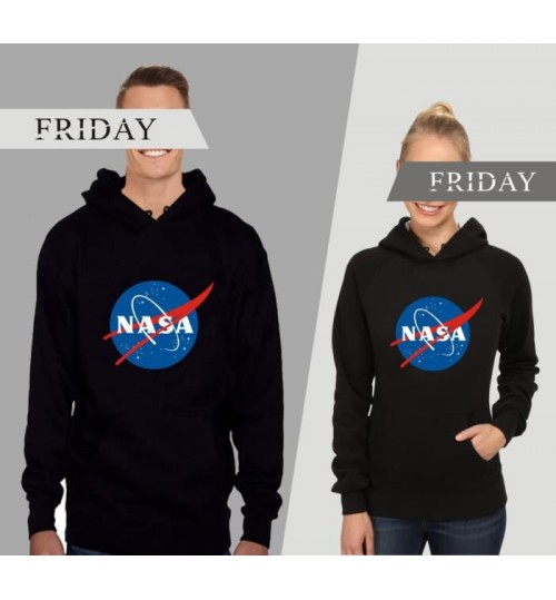 Autumn Winter NASA logo hooded jacket