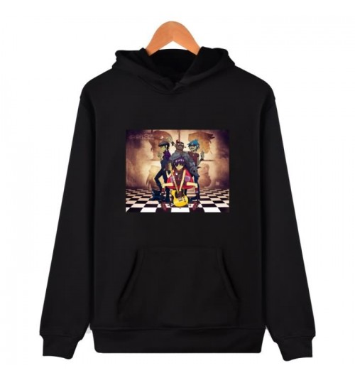 GORiLLaz prints letters long-sleeved hooded sweater Autumn Winter plus-size loose casual shirt