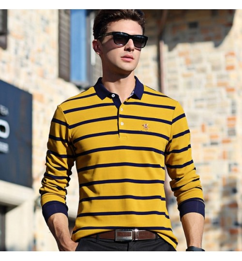Autumn authentic men's long-sleeved T-shirt youth lapel stripes slim business T-shirt