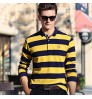 Autumn long-sleeved lapel business middle-aged men's headdress striped T-shirts