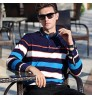 Autumn new men's long-sleeved T-shirt middle-aged fashion lapel brand stripes shirt