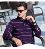 Autumn new middle-aged striped T-shirt long-sleeved lapel cotton men's business T-shirt