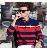 Autumn new T-shirt men's long-sleeved middle-aged fashion lapel brand stripes