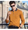Men's new long-sleeved T-shirt fall lapel solid color slim POLO shirt