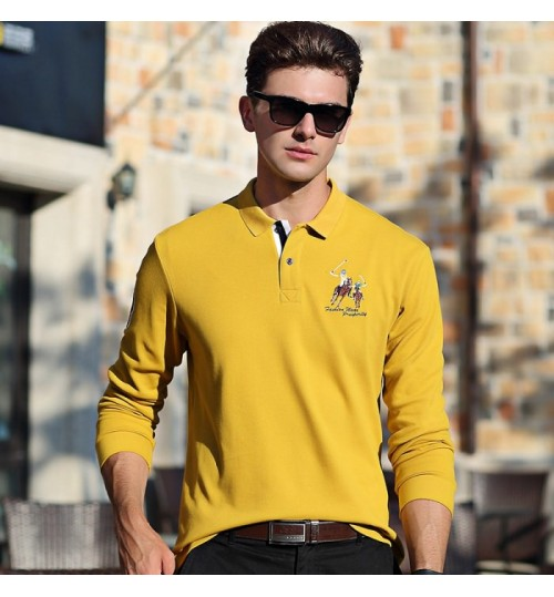 New fall long-sleeved T-shirt lapel business fashion father middle-aged men polo shirt