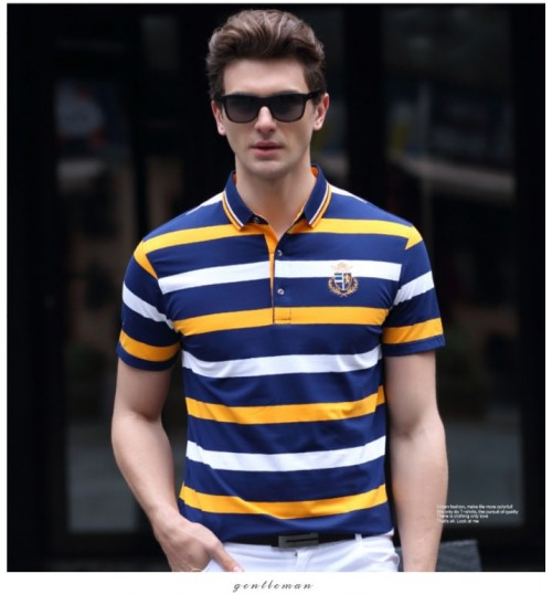 Short-sleeved lapel business middle-aged men's clothes thin cotton stripe t-shirt