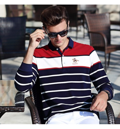 Spring and autumn new long-sleeved lapel men's T-shirt slim business shirt