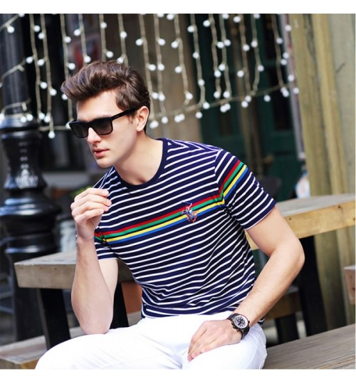 Spring and summer new men's short-sleeved T-shirt middle-aged business stripes thin round collar t-shirt