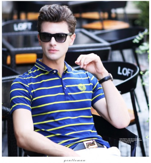 Summer new business short-sleeved t-shirt lapel middle-aged father men's shirt