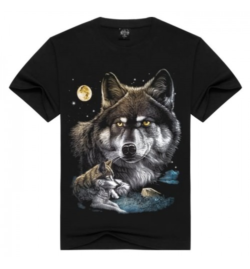Heavy metal 3D short sleeve T-shirt wolf pattern prints cotton men's clothing
