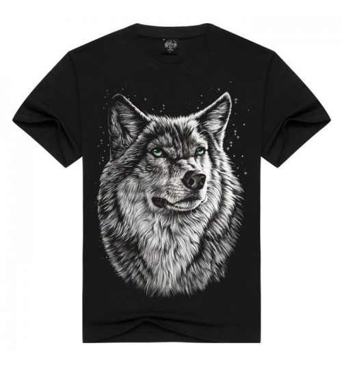 Heavy metal men's 3D prints T-shirt Gray Wolf popular elements new short-sleeved