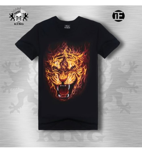 Heavy metal men's creative sports  flame Wolf 3D short-sleeved T-shirt wholesale
