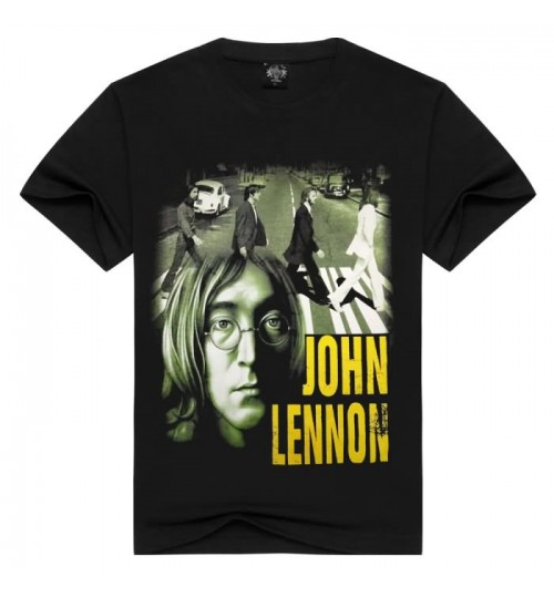 Heavy metal Menswear British rock band The Beatles John Lennon Mens prints short sleeve