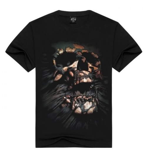 Heavy metal new Autumn Winter men's 3D long-sleeved T-shirt skull three-dimensional prints patterns