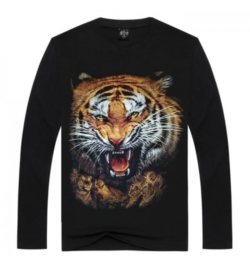 Heavy metal new men's Autumn Winter 3D animal print long-sleeved T-shirt tiger pattern