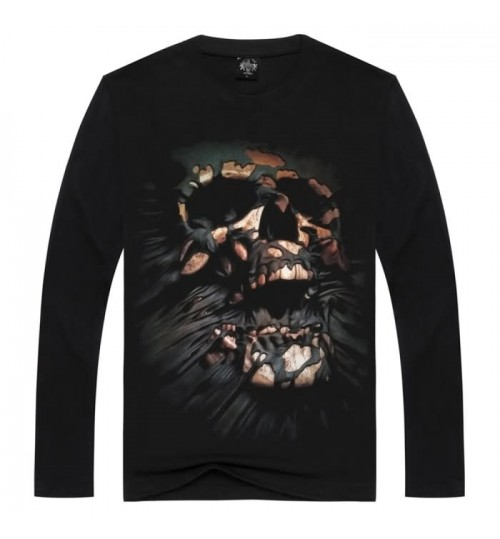 Heavy metal new men's Autumn Winter personalized prints long-sleeved T-shirt 3D hole skull