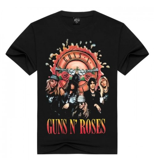 Heavy metal new men's personality Guns N Roses prints 3D cotton short-sleeved T-shirt