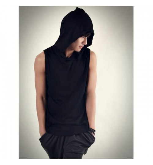 Heavy metal New Men's Waistcoats Hooded Sleeveless Tank Top Fitness clothing