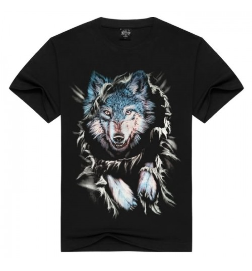 Heavy metal new personality creative sports short-sleeved t-shirt men's 3D hollow wolf pattern prints t-shirt