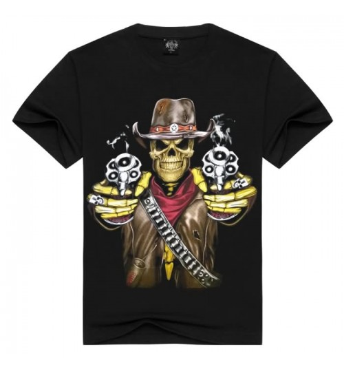 Heavy metal street t-shirt creative 3D prints effect men's 3D skull short-sleeved T-shirt
