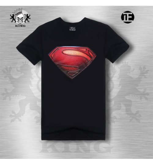 Heavy metal superman badge cotton short-sleeved men's 3D t-shirt