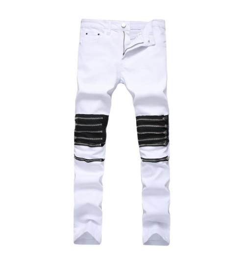 Myjeans198 hole decorative zipper casual jeans white red fashion North American men's stretch pants
