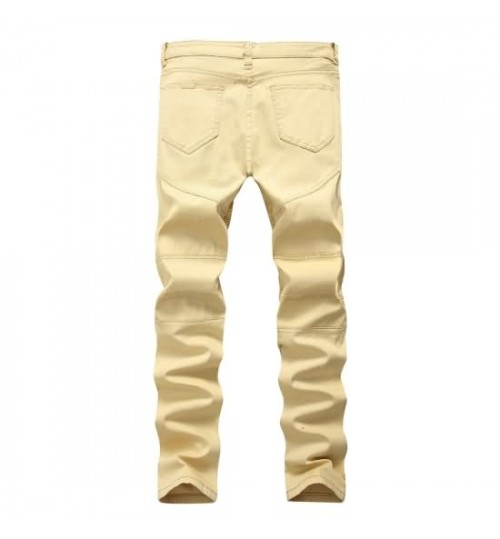 Myjeans198 street motorcycle men and women pleated slim pants high elastic khaki hole jeans