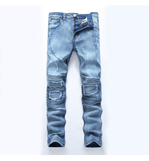 Myjeans198 American men's high street hole jeans high elasticity light-colored slim pants