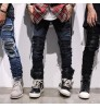 Myjeans198 Bieber same style Europe and the United States high street hole old slim bound feet jeans men's pants