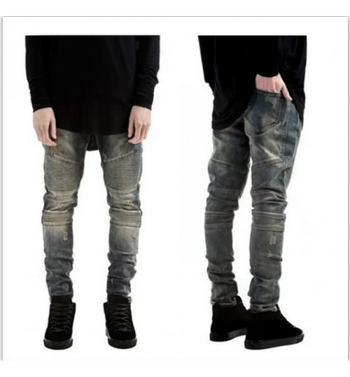 Myjeans198 European and American high street BIKER JEANS pleated stretch jeans worn slim pants
