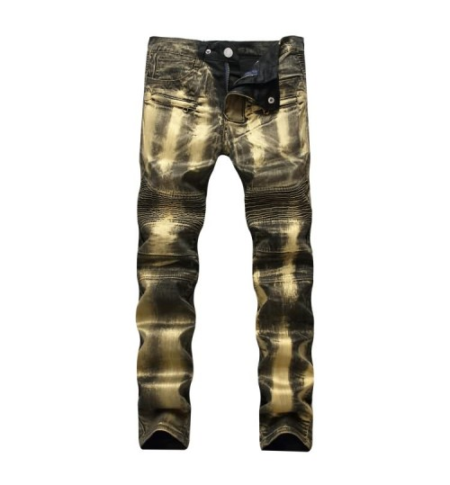 Myjeans198 locomotive zipper golden silver jeans stretch Slim men's trousers