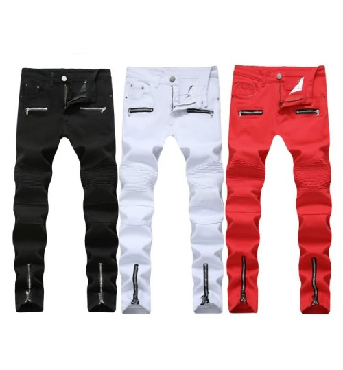 Myjeans198 high street motorcycle zipper casual denim stretch elastic trousers