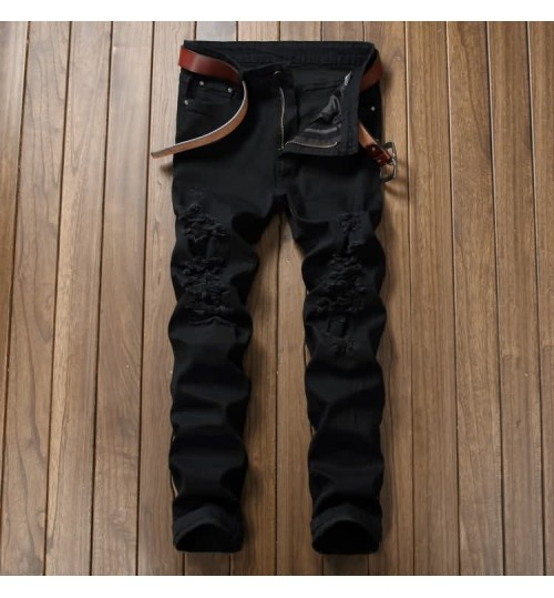 Myjeans198 black denim casual destroyed pants north American straight slim new trousers