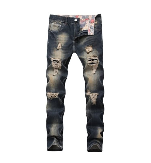 Myjeans198 slim destroyed jeans nostalgic European and American men straight denim pants