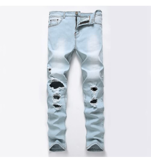 Myjeans198 light blue and white destroyed jeans hot sale stretch denim