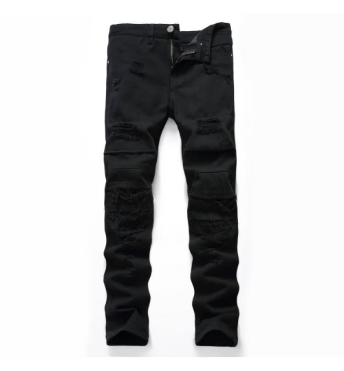 Myjeans198 men's black destroyed jeans fashion high street casual trousers
