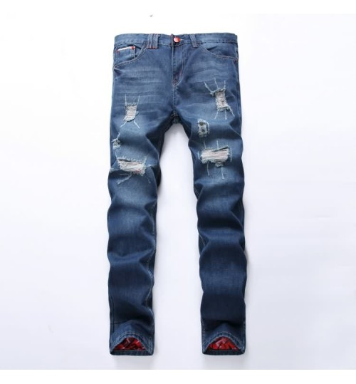 Myjeans198 men's hole red patch straight slim denim pants