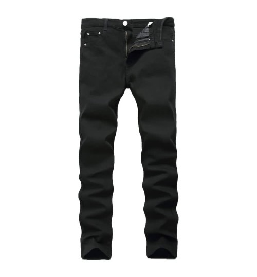 Myjeans198 men's black pants slim high-elasticity pure black denim