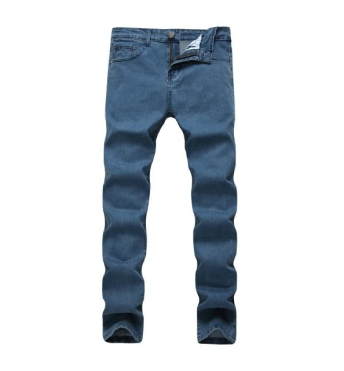 Myjeans198 Men's Straight Slim Stretch Blue Business Casual Jeans Simple New Trousers