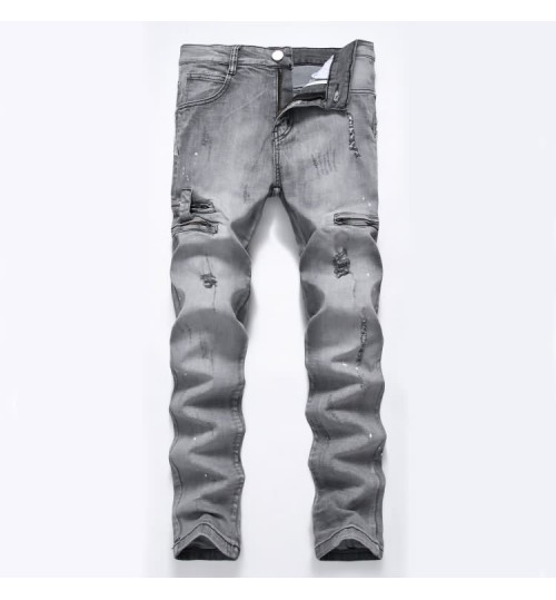 Myjeans198 men's stretch jeans a variety of color zipper slim prints light gray trousers