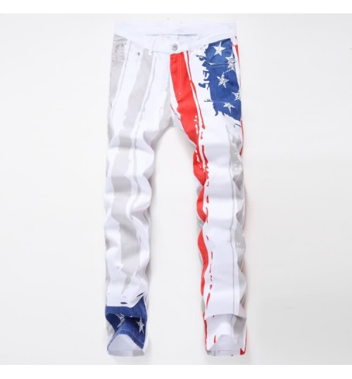 Myjeans198 men's white American flag casual jeans painted color pattern fashion plus jeans